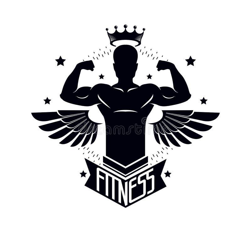 Gymnastiek en geschiktheidsembleemmalplaatje, retro vectorembleem of kenteken met vleugels Met bodybuildersilhouet vector illustratie