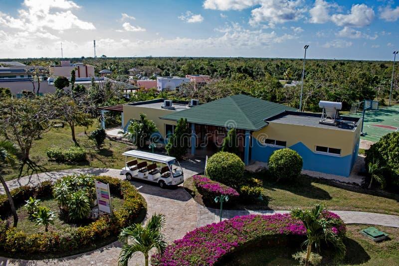 Gymnastiek en Recreatiegebied bij de Toevlucht van Playa Paraiso in Cayo Coco, Cuba royalty-vrije stock foto