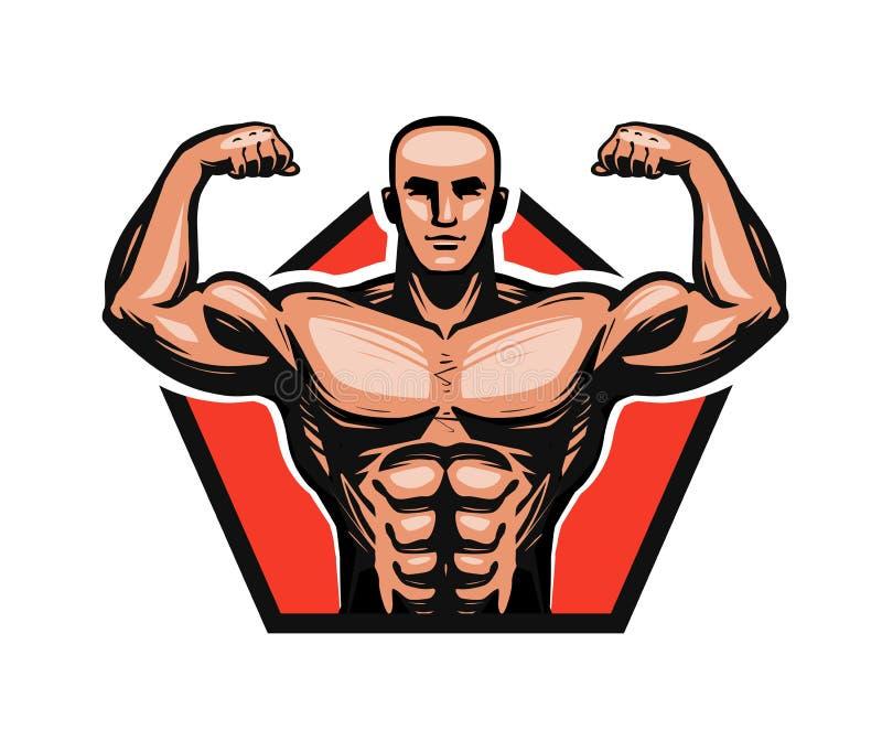 Gymnastiek, het bodybuilding, geschiktheidsembleem of etiket Spiermannetje of bodybuilder Vector illustratie vector illustratie