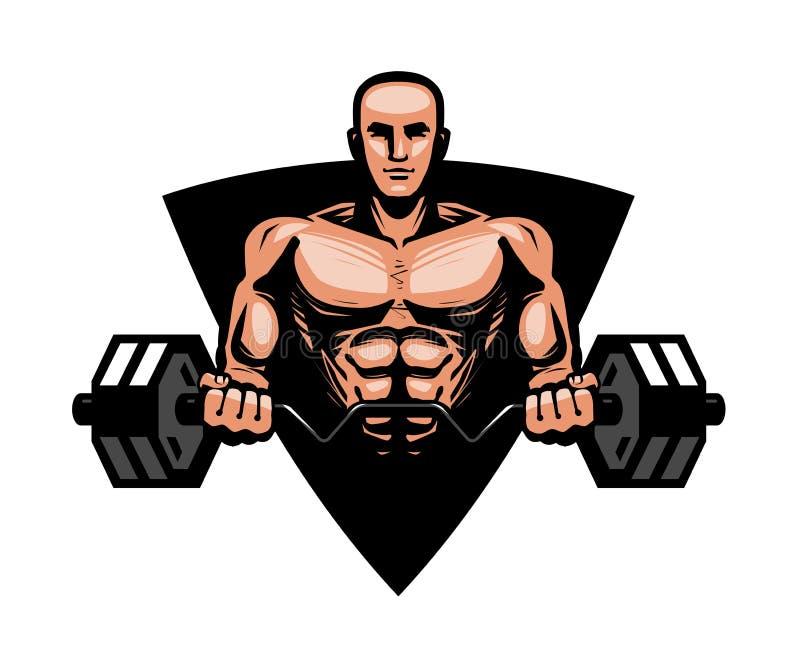 Gymnastiek, het bodybuilding, geschiktheidsembleem of etiket Spiermens of bodybuilder die zware barbell houden Vector illustratie royalty-vrije illustratie