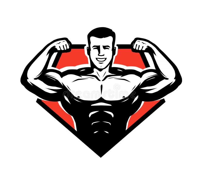 Gymnastiek, het bodybuilding, gewichtheffenembleem of etiket Sportsymbool Vector illustratie stock illustratie