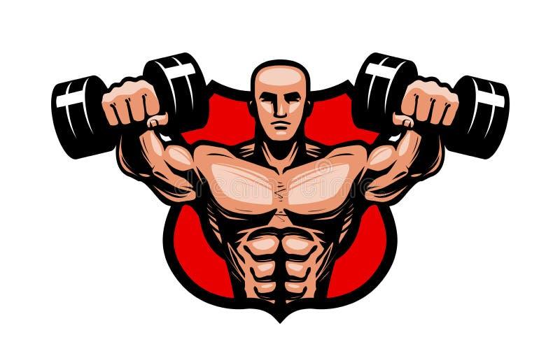 Gymnastiek, het bodybuilding, sportembleem of etiket De bodybuilder heft zware domorenhanden op Vector illustratie royalty-vrije illustratie