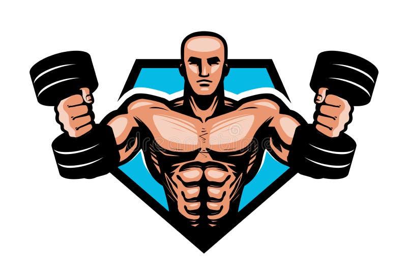 Gymnastiek, het bodybuilding, sportembleem of etiket De spierdomoren van de bodybuilderholding in handen Vector illustratie vector illustratie