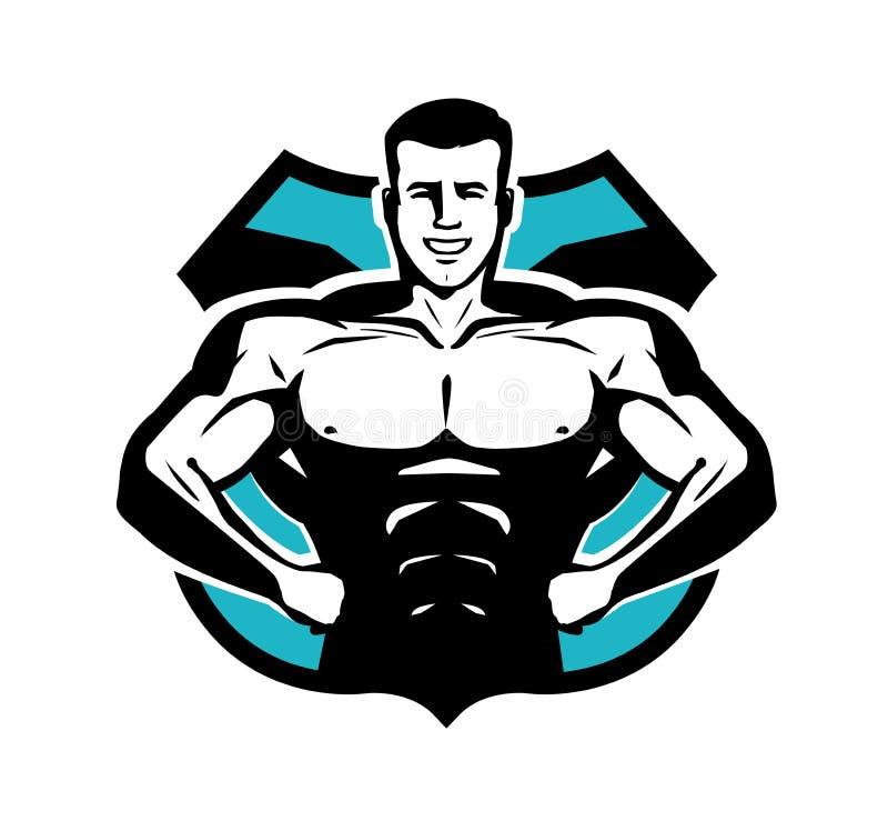 Gymnastiek, het bodybuilding, sportembleem of etiket Gelukkige bodybuilder met spierlichaam Vector illustratie royalty-vrije illustratie