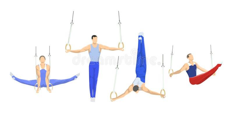 Gymnastiek met ringen stock illustratie