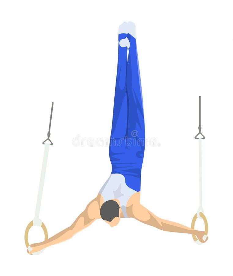 Gymnastiek met ringen royalty-vrije illustratie