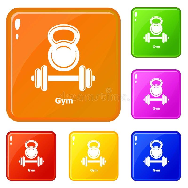 Gymnastiek metall pictogrammen geplaatst vectorkleur vector illustratie