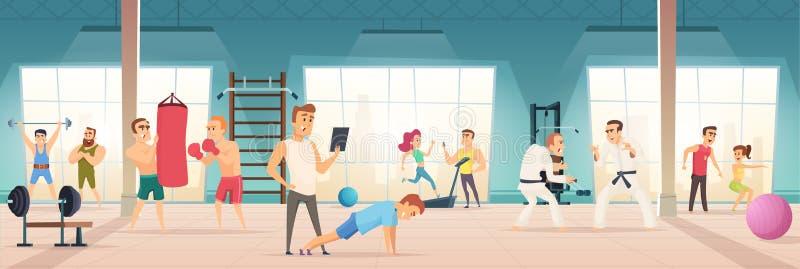 Gymnastiekbinnenland Binnen van fitness van de sportsimulators van de centrumtraining van het de levensstijllichaam de balfiets v royalty-vrije illustratie
