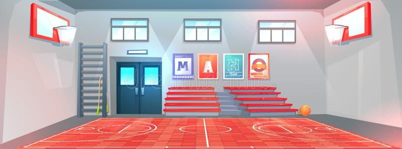 Gymnastiekbinnenland op school Basketbalgebied en hoepels en bal Bank voor schoolkinderen in gymnasium stock illustratie