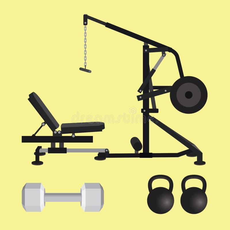 Gymnastiekmateriaal met dumbell kettlebell en lat trekkracht neer hulpmiddelen royalty-vrije illustratie