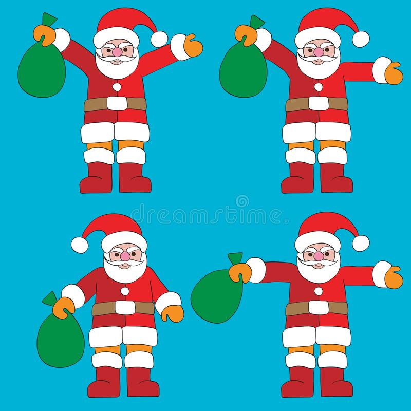 Gymnastiekposities van een Santa Claus-beeldverhaal stock illustratie