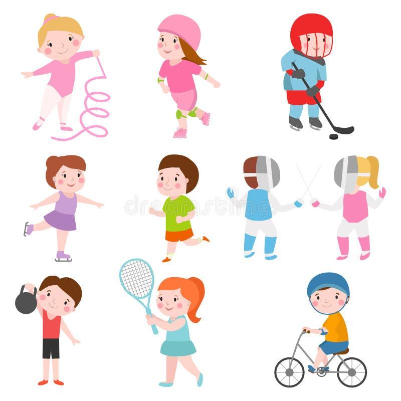 Gymnastik för rullskridskor för sportsmens för unga ungar som framtida isoleras på unga vinnare för vit och för barn efter sports royaltyfri illustrationer