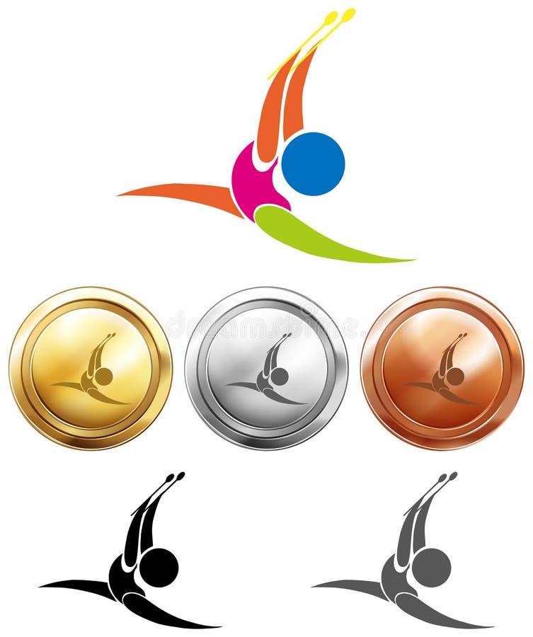 Gymnastik med pinnar symbol och medaljer stock illustrationer