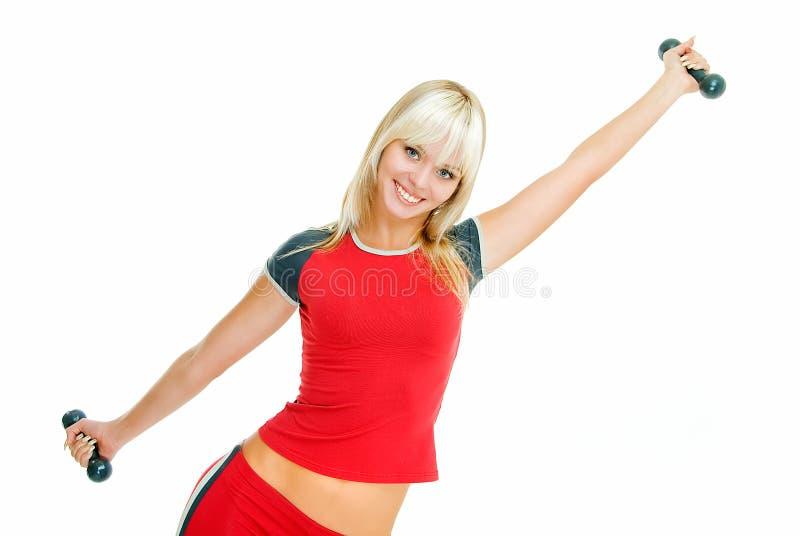 Gymnastik mit Blondine stockfoto