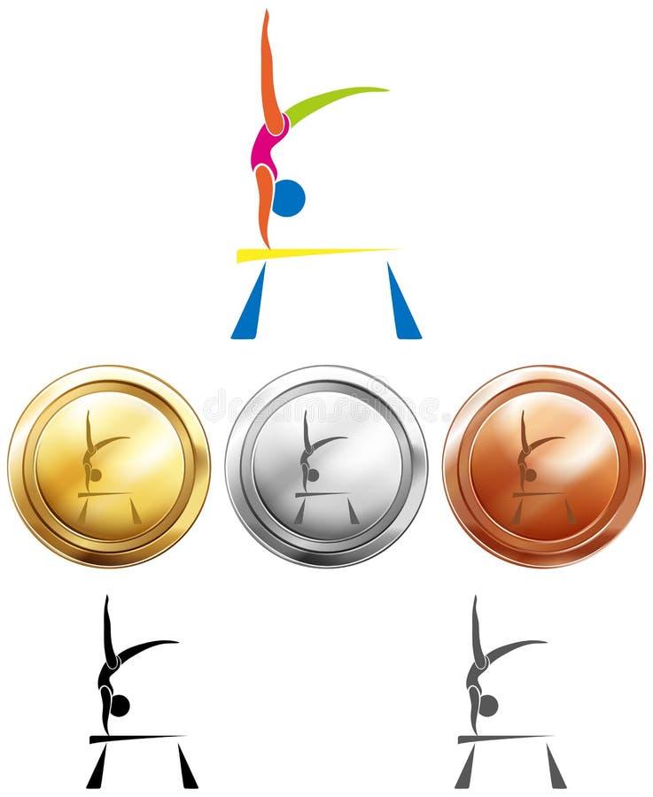 Gymnastik på jämviktsstång och medaljer stock illustrationer