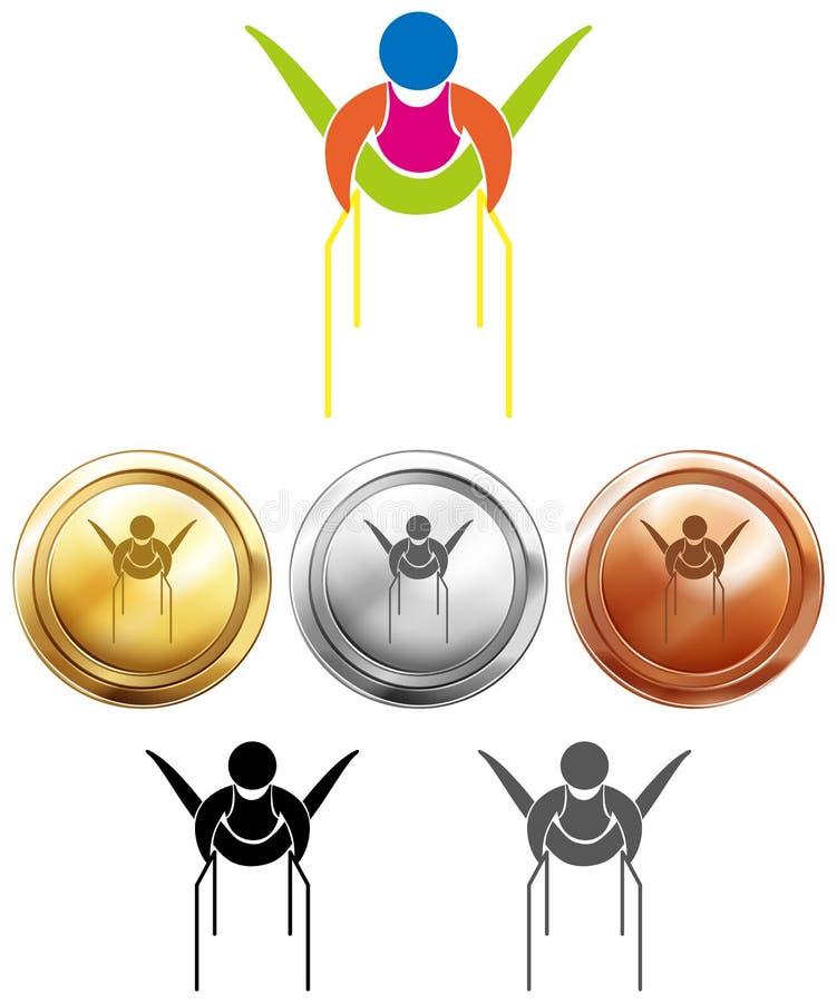 Gymnastik på parellelstänger och medaljer vektor illustrationer