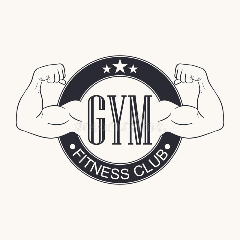 Gymnastik Turnhallenemblem Fitness-Club-Logo Typografiegraphik für T-Shirt, Design des Sportkleidungskleides Bodybuildender Aufkl lizenzfreie abbildung