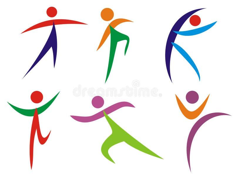 gymnastikfolksilhouettes stock illustrationer