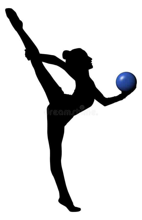 Gymnastikkvinnakontur med blåttbollen split Tillgänglig PNG royaltyfri illustrationer
