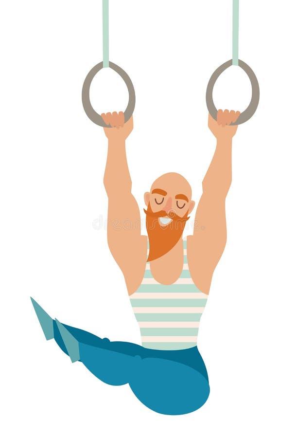 Gymnastikringe Kahler Mann des bärtigen Schnurrbartes mit den Muskeln, die an den Ringen hängen Stilvoller Mann in einem Kittel stock abbildung