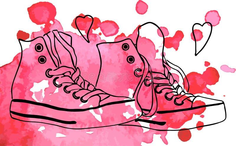 Gymnastikskor skor hjärtaförälskelselinjen vektor för konstvattenfärgfläck royaltyfri illustrationer