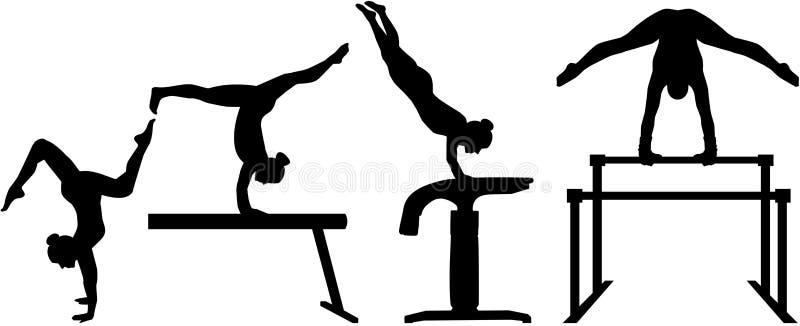 Gymnastique à quatre parties de concurrence illustration libre de droits