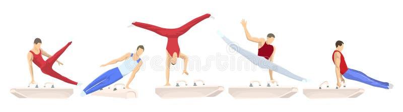 Gymnastique avec le cheval illustration de vecteur
