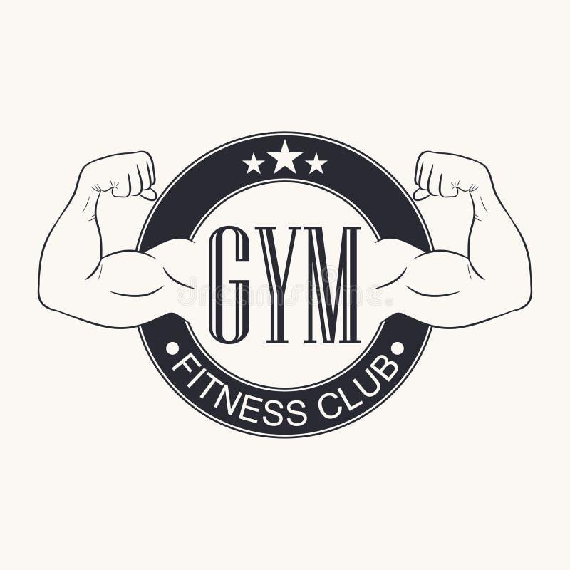 Gymnastique Emblème de gymnase Logo de centre de fitness Graphique de typographie pour le T-shirt, conception d'habillement de vê illustration libre de droits