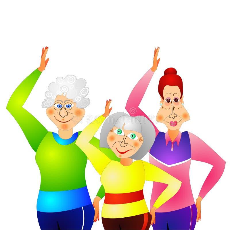 Gymnastique pour les femmes aînées illustration libre de droits