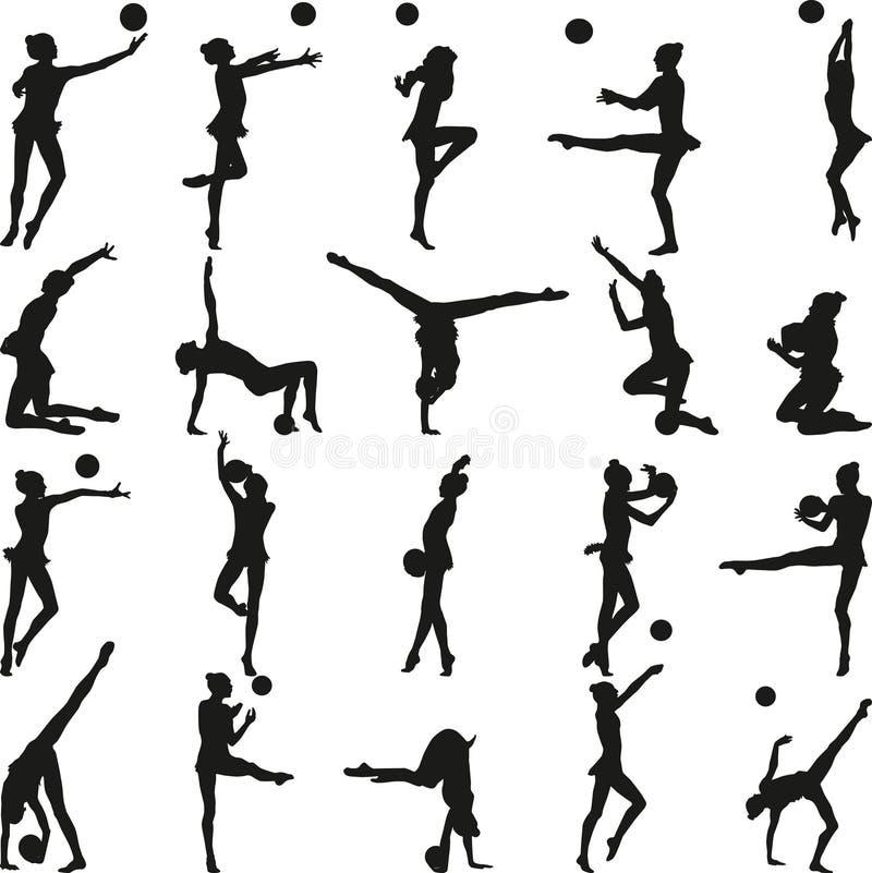 Download Gymnastique Rhythmique - Graphisme Vectoriel Coloré Illustration de Vecteur - Illustration du isolement, gymnastique: 56488785