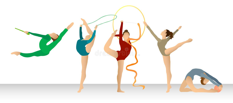 Gymnastique rhythmique : Groupe en couleurs illustration libre de droits