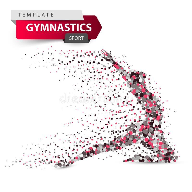 Gymnastique, sport - pointillez l'illustration sur le fond blanc illustration libre de droits