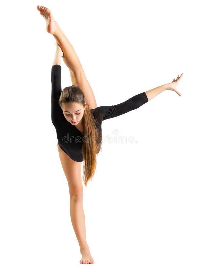 Gymnastisk förlovad konst för ung flicka royaltyfria foton