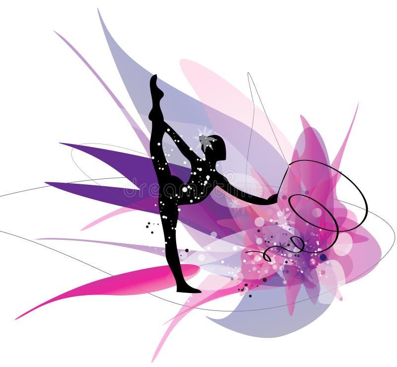Gymnastisk flickakontur på rosa bakgrund vektor illustrationer