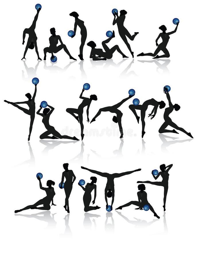gymnastisk samlingsflicka stock illustrationer