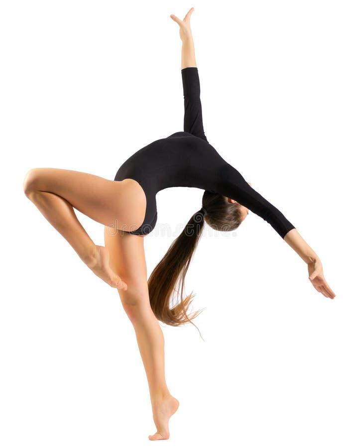 Gymnastiska förlovade konster för ung flicka arkivbilder