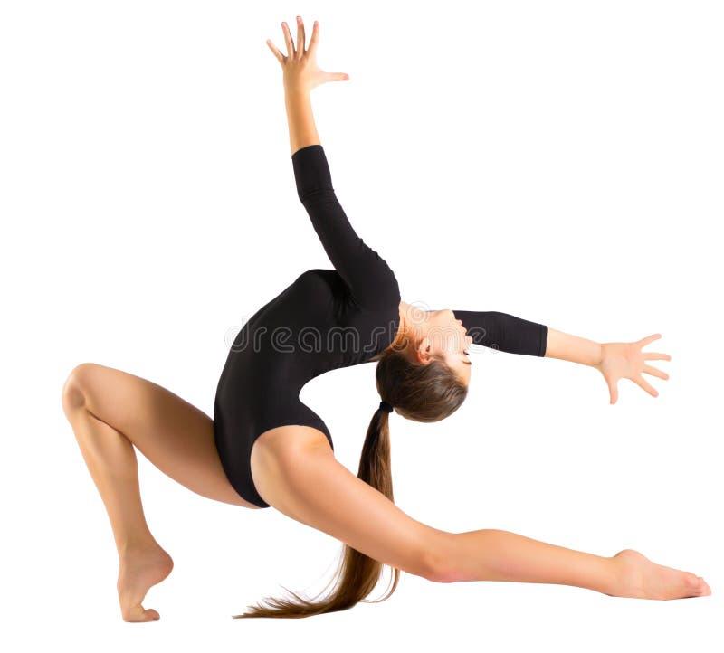 Gymnastiska förlovade konster för ung flicka arkivfoto