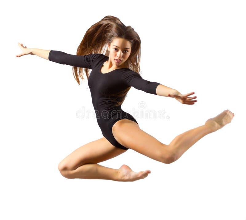 Gymnastiska förlovade konster för ung flicka arkivfoton