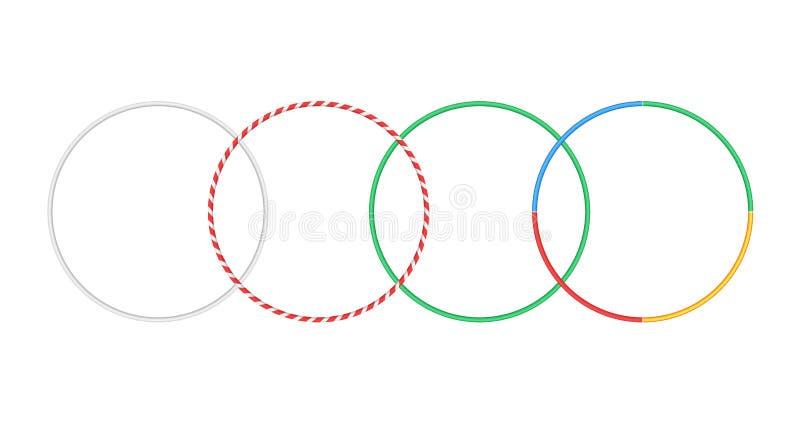 Gymnastiskt beslag isolerat hulakonditionobjekt Den Hoola cirkelarmringen gjorde randig hulahoop stock illustrationer