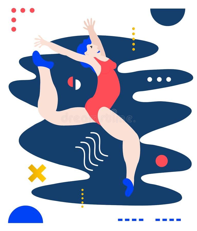 Gymnastkvinna som gör övning Idérik vektorillustration som göras i abstrakt sammansättning vektor illustrationer