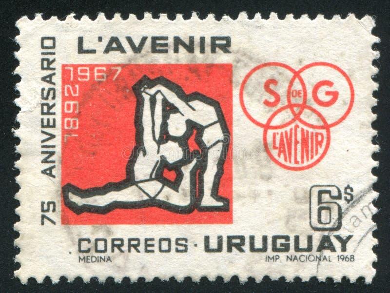 Gymnasts και έμβλημα λεσχών στοκ εικόνα