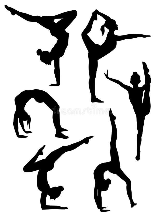 gymnasts κοριτσιών σκιαγραφίες απεικόνιση αποθεμάτων