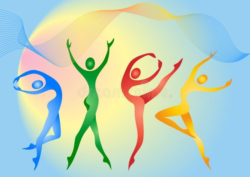 Gymnasts ilustração royalty free
