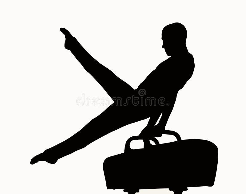 gymnastsilhouette royaltyfri illustrationer