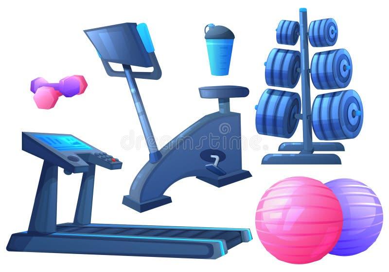 Gym interior object. Sport equipment for fitness - exercise bike and treadmill for running. Vector cartoon illustration vector illustration