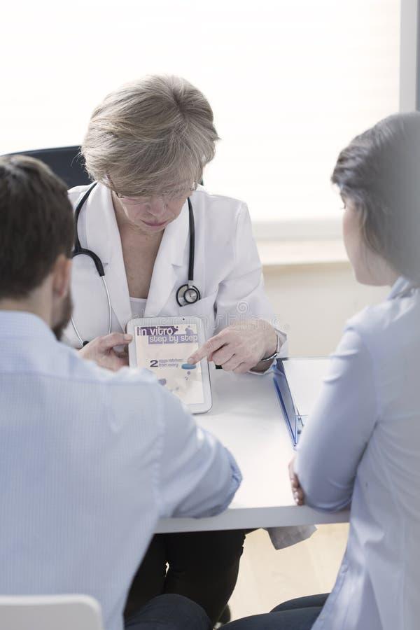 Gynaecoloog die proces in vitro verklaren stock afbeelding