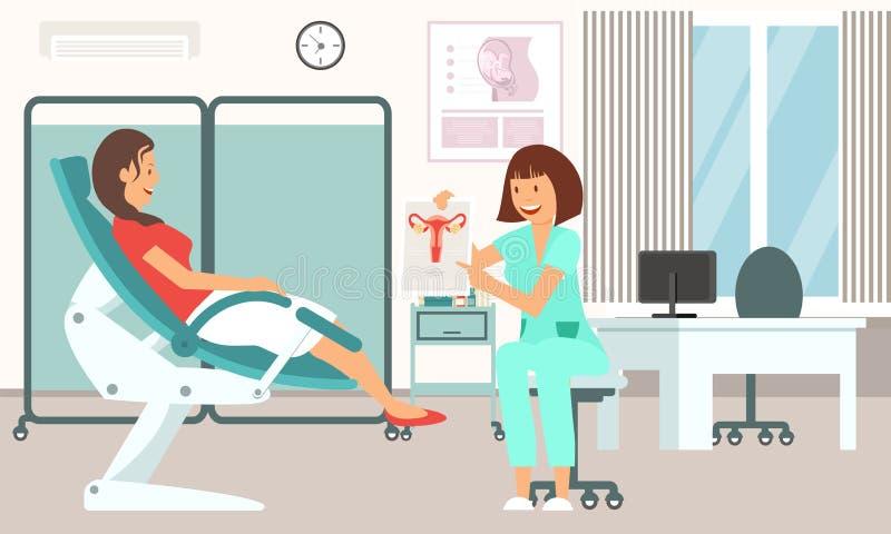 Gynecologist Consultation. Vector Illustration. royalty free illustration