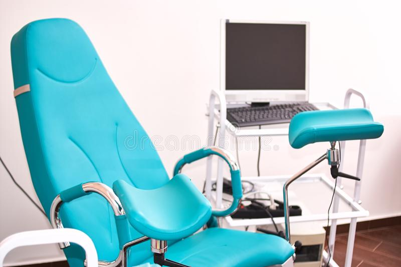 gynecology in the clinic. gynecology room, medical instruments, interior of the genicology clinic royalty free stock image