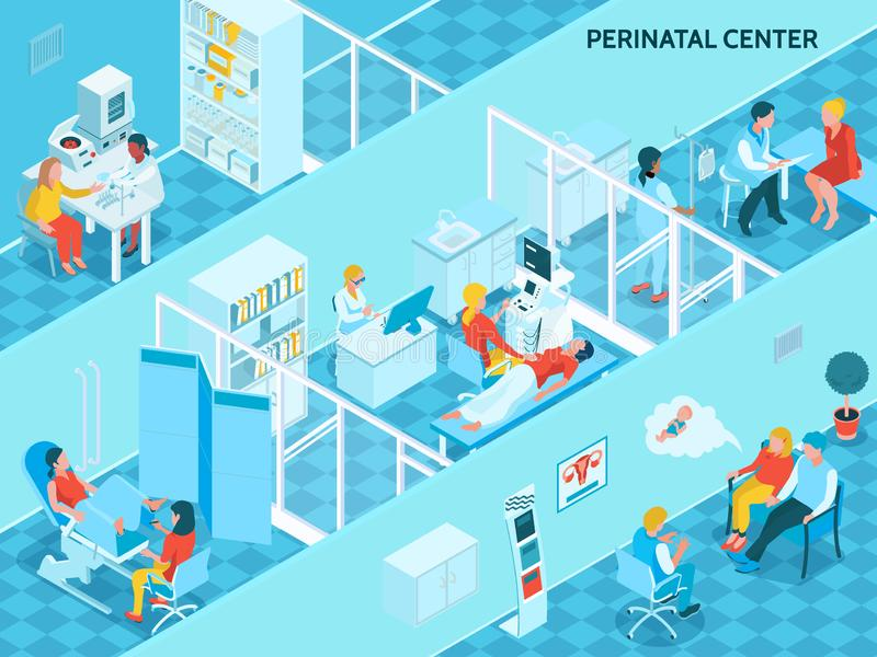 Gynecology And Pregnancy Isometric Background vector illustration