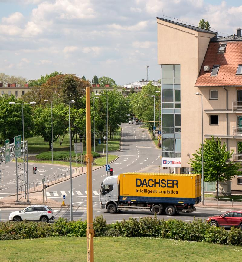 Gyor Hungary 05 07 2019 a dacher truck passing through the city.  stock images